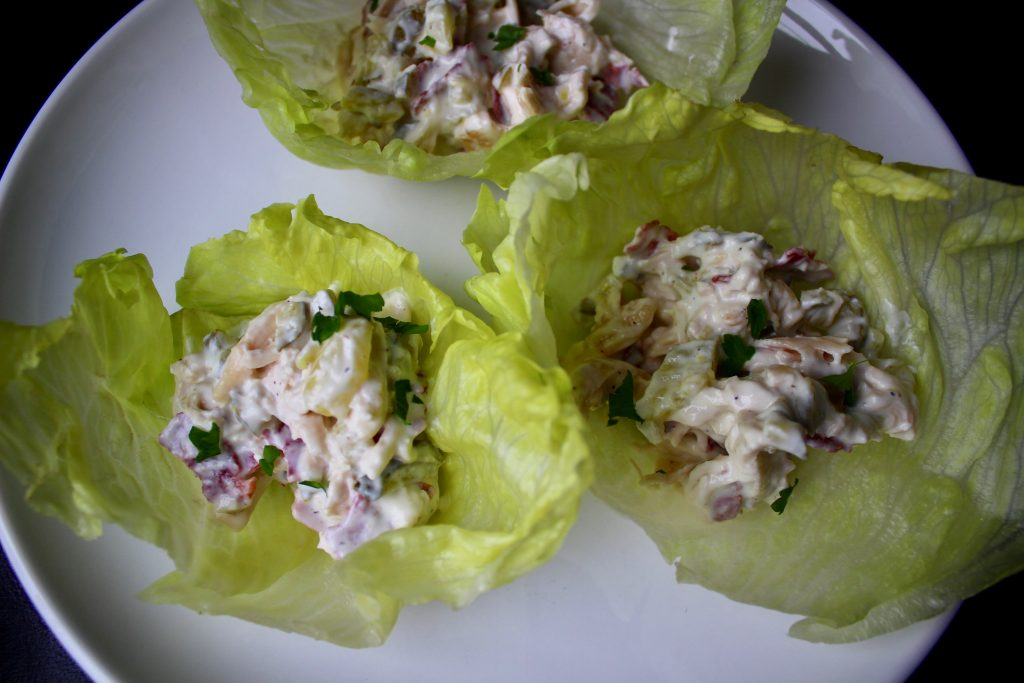Shredded Chicken Salad Lettuce Bowls